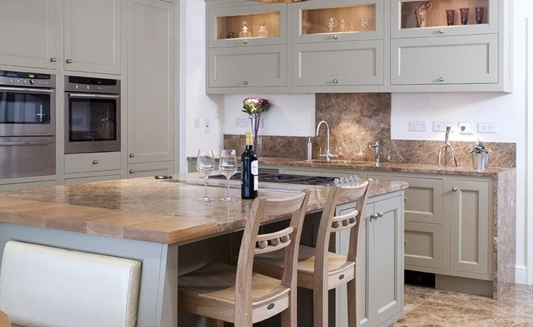 file cabinet bench kitchen contemporary with marble waterfall island overhang modern tile murals