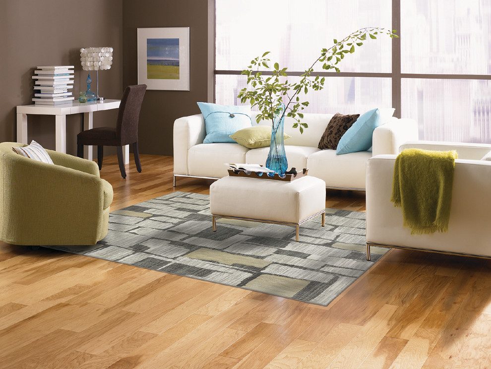 Hickory Wood Floors Living Room Rustic with Flooring