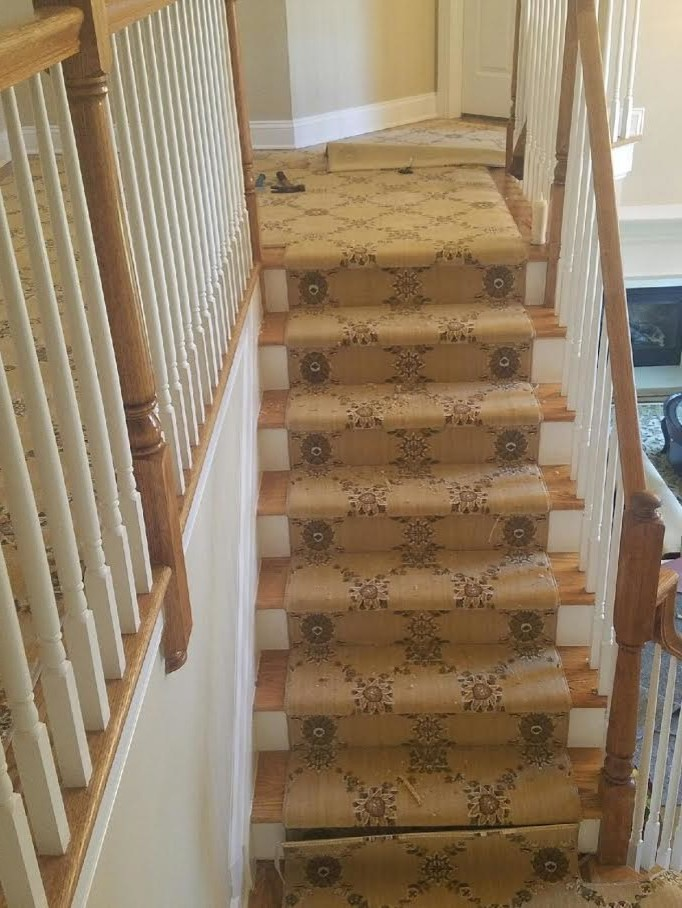 Patterned Carpet For Staircase Traditional with Hall Stair