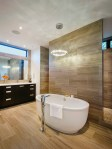 River Rock Floor Bathroom Contemporary with Herringbone Lotion and Soap Dispensers