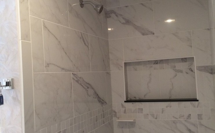 shower shelves built bathroom modern with wood paneling contemporary multiuse mosaic tiles