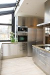 Stainless Steel Balusters Kitchen Contemporary with Countertop Whistling Tea Kettles