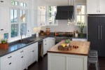White Granite Countertops Kitchen Transitional with Slate Ceiling Mini Pendant Lights