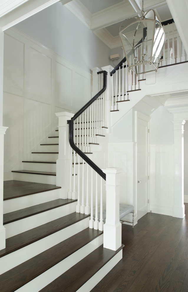 Wood Stair Treads Staircase Traditional with Dark Stained Stairs Oak Engineered Flooring