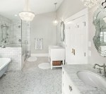 48 inch Bathroom Transitional with Barn Door Freestanding Lotion and Soap Dispensers