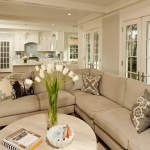 apartment size sectional living room contemporary with beige sofa dining chairs