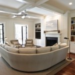 apartment sized sectional family room transitional with tan sofa farmhouse coffee tables