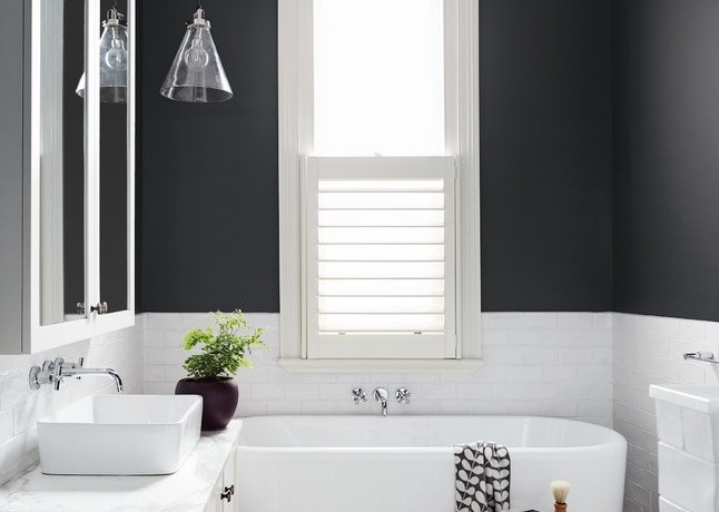 art deco tile bathroom transitional with window treatment tub and shower faucet sets