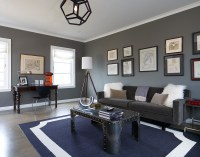 Charcoal Gray Sofa with Sheepskin Rugs Light Wood Floors