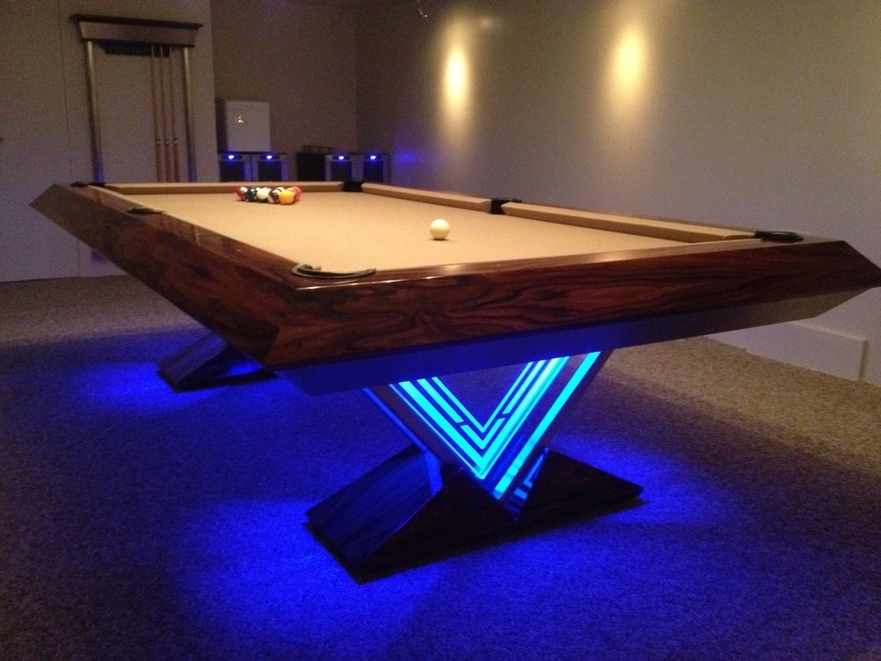 Kitchens have opened up to living sp. contemporary pool table family room rustic with open floor ...