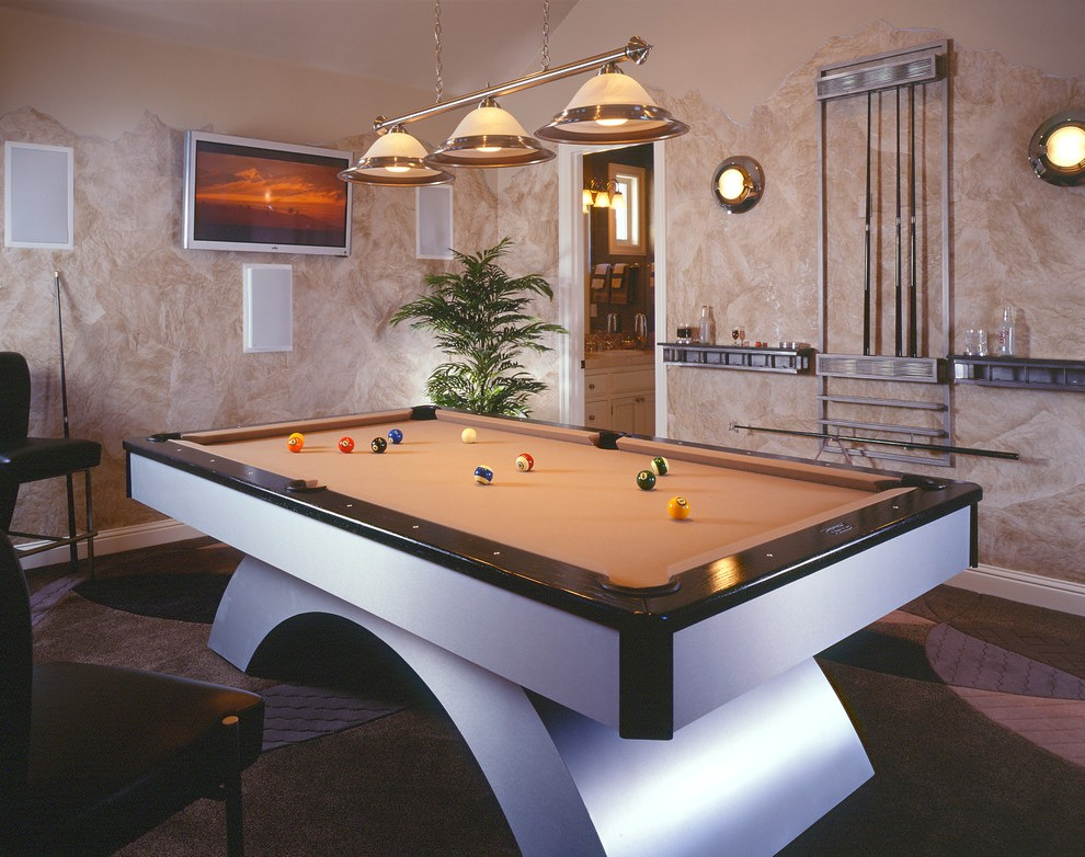 contemporary pool table living room traditional with blue
