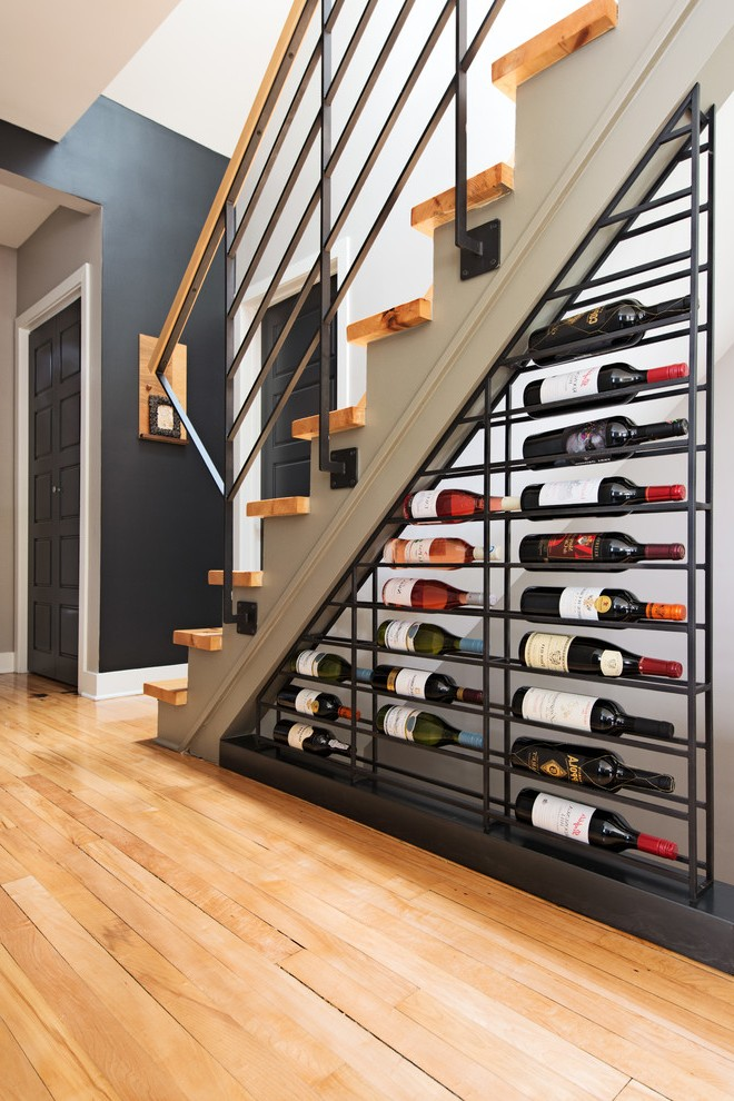 Contemporary Wine Racks with Nook Wood Accent Wall Storage Concrete Stairs