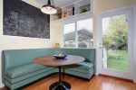 Corner Banquette Bench with Spindle Chairs Wall Lights V-rustic Lantern Sconce