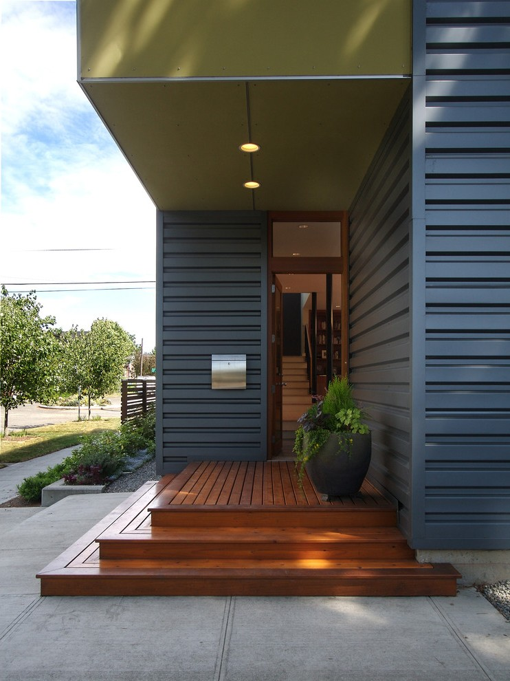 Corrugated Metal Siding Exterior Contemporary with Shed Roof Brown Deck Tiles