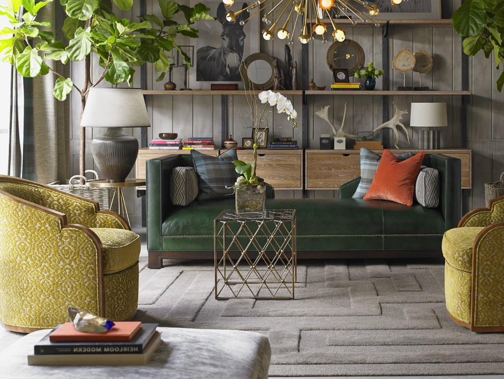 chesterfield sofa living room ideas beds orange county california dark green contemporary with white wood ...