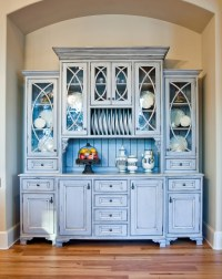 Distressed China Cabinet with French Crystal Chandelier ...