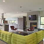 double sleeper sofa living room contemporary with oversized window white ceiling fans