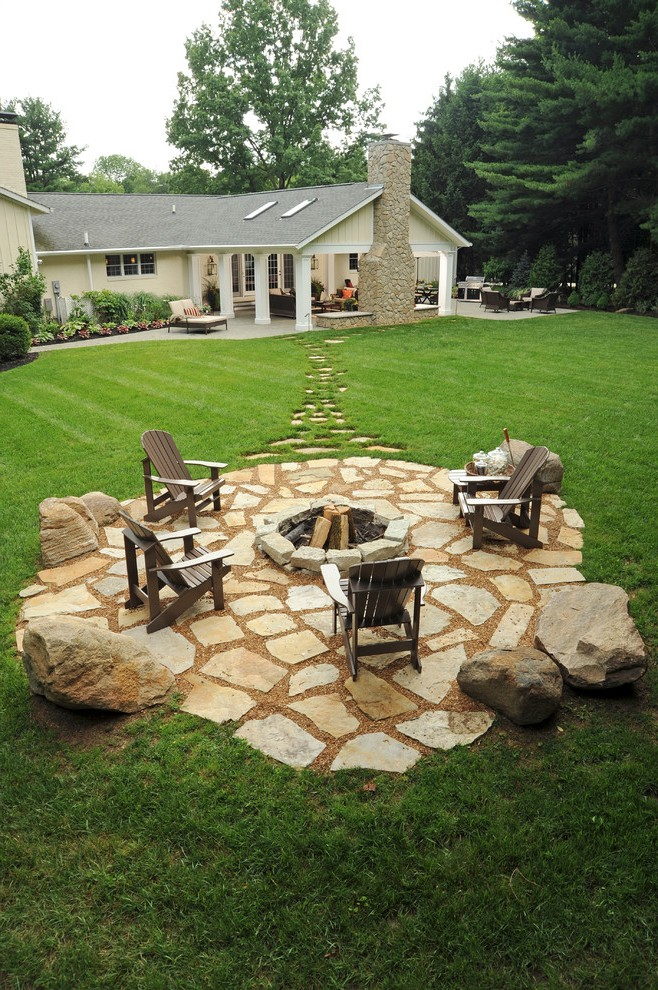 Inground Pool With Fire Pit : inground, Ideas, Patio, Craftsman, Transitional, Parcel, Boxes, Propane, Bowls