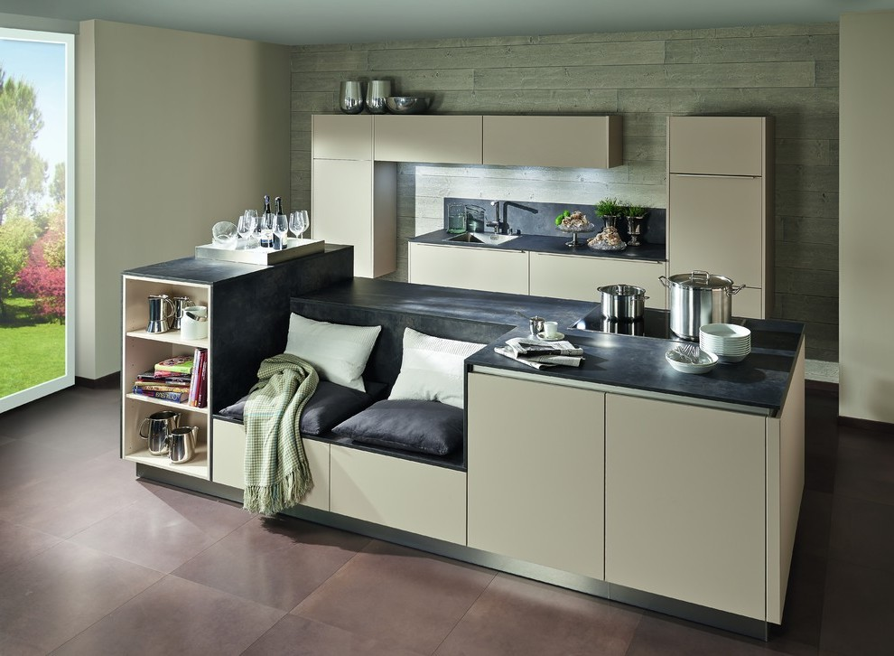 German Kitchen Cabinets with Terracotta Storage Solutions