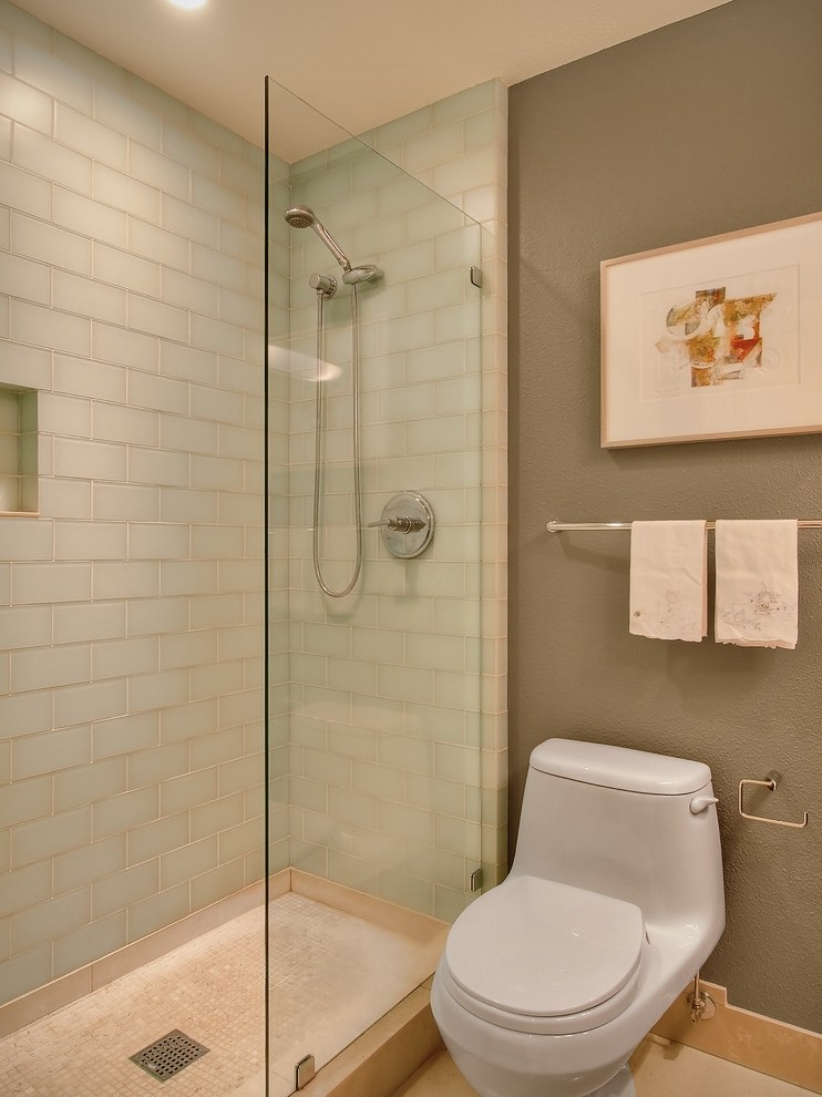 Glass Water Dispenser Bathroom Contemporary with Recessed