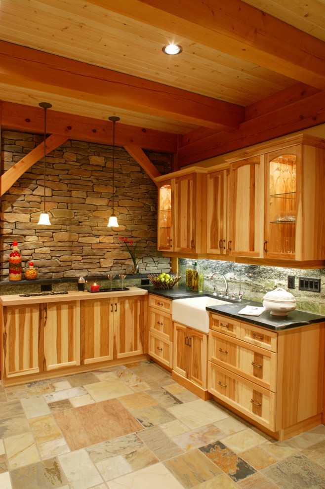 Hickory Kitchen Cabinets with Natural Cabinetry Fireplace