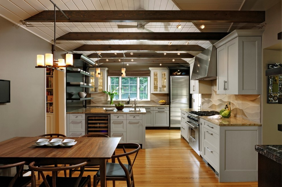 kitchen track lighting eclectic with