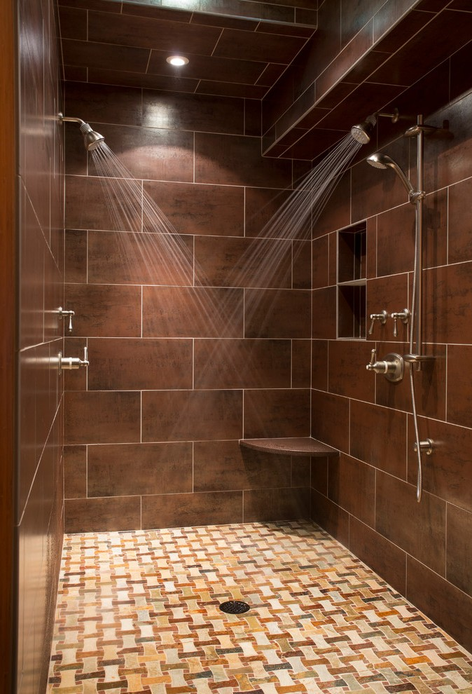 L Shaped Shower Bathroom Traditional with Niche