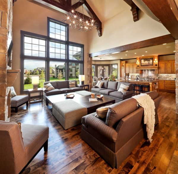 Large Open Concept Living Room Traditional With Exposed