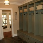 mud room cubbies entry traditional with stained cabinets molding and millwork