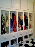 Mud Room Cubbies with Area Rug White Painted Wood Wainscoting Cubby Hole Storage