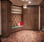 Mud Room Lockers Entry Transitional with Lattice Screen Coatracks and Umbrella Stands