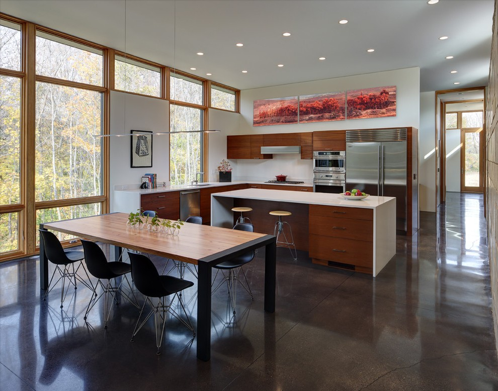 Polished Concrete Floors Dining Room Contemporary with 8