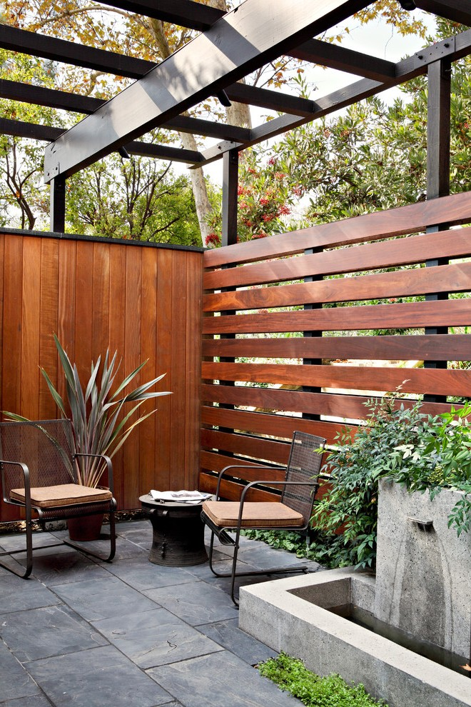 wooden fence contemporary path lights