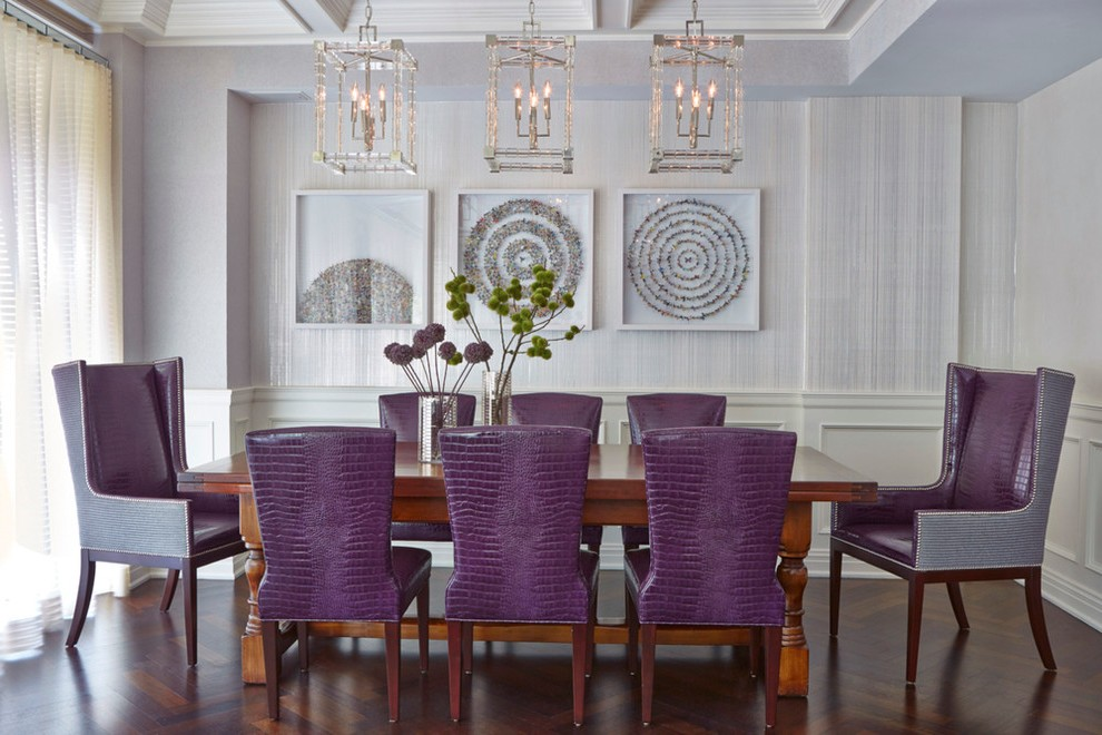 purple accent chair living room midcentury with wood