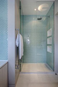 shower tile floor bathroom midcentury with towel hooks ...