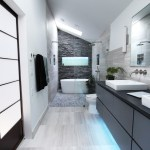 sliced pebble tile bathroom contemporary with white cabinets nickel showerheads and body sprays