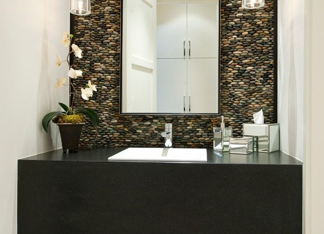 sliced pebble tile bathroom traditional with shower niche pans and bases