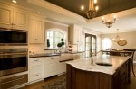 Sub Zero Refrigerator Kitchen Traditional with Unique Chandelier Accent