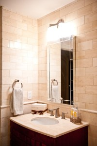 Tile Chair Rail Bathroom Traditional with Shower Tub ...