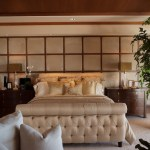 tufted sleigh bed bedroom transitional with blue throw pillow traditional paint and wall coverings