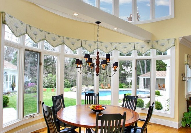 valances for bay dining room traditional with country kitchen pendant lights