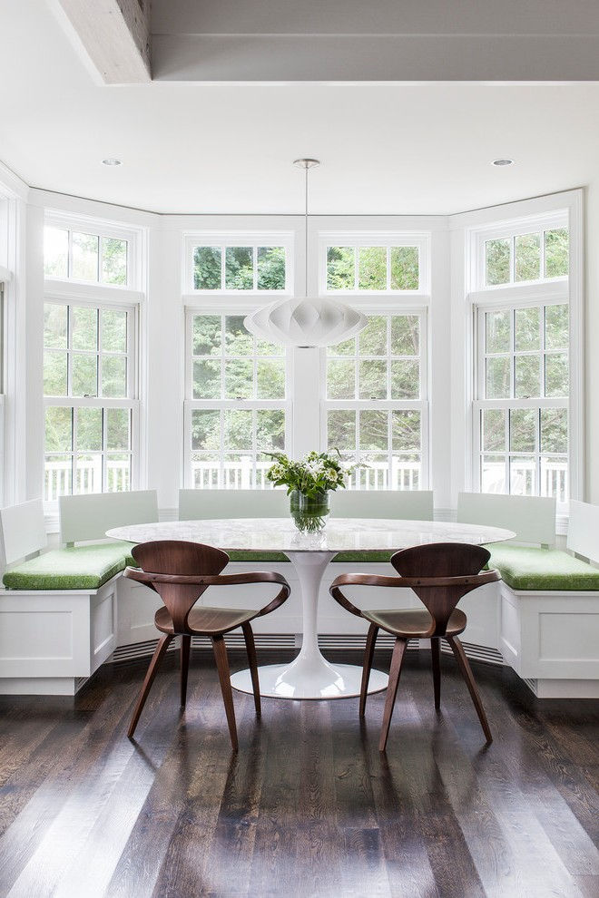 Boston Breakfast Tables Ikea Dining Room Transitional With Built In Bench Chrome Pendant Lights