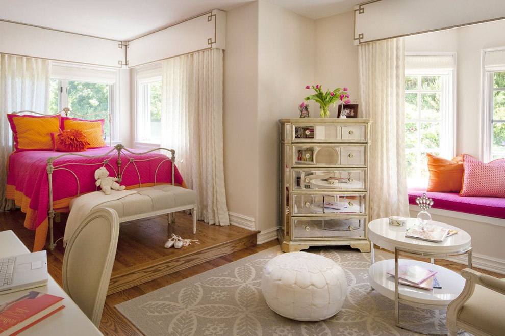 los angeles hot pink girls room with round floor pillows and poufs kids eclectic orange