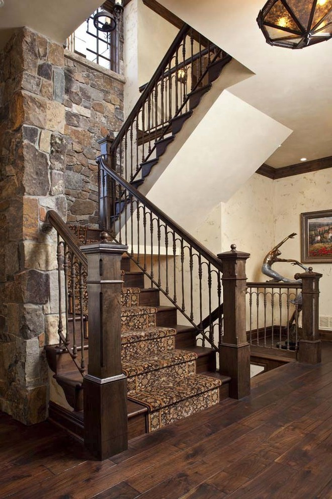 Extraordinary Wrought Iron Staircase with Carpet Stair Runner White Wainscoting