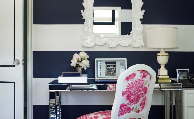 New York Navy Decor Home Office Transitional With Blue And