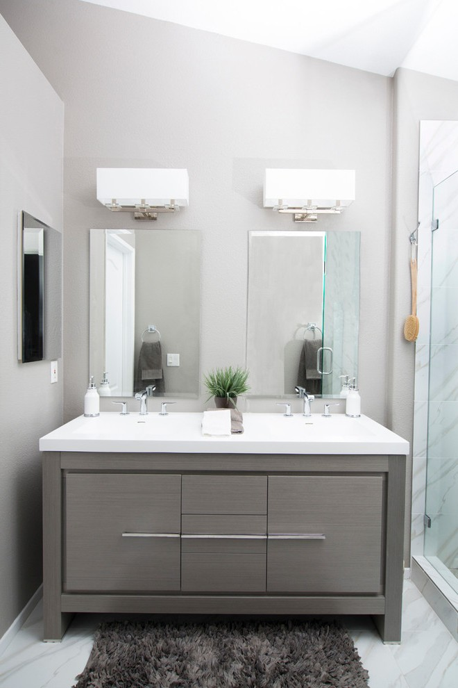 Pleasing Makeup Vanity in Bathroom with White and Gray