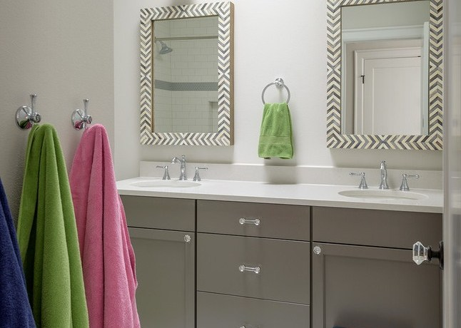 seattle west elm mirror with metal vanity stools and benches bathroom transitional double widespread faucet