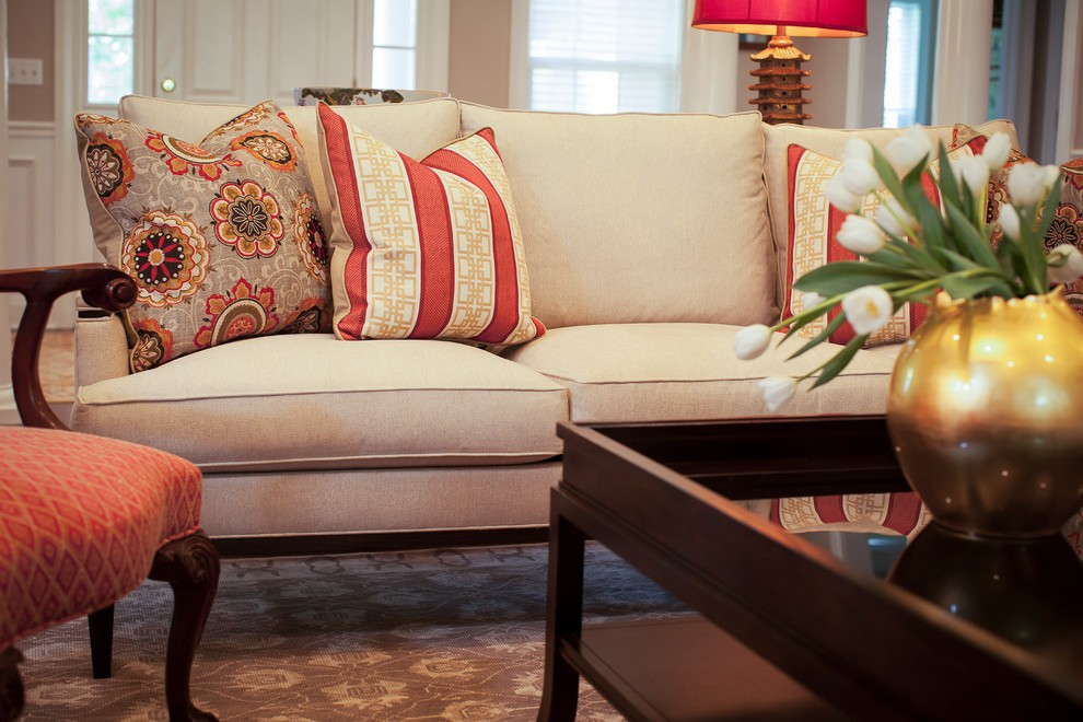 Goodlooking Cream Colored Sofa with Red and White Area