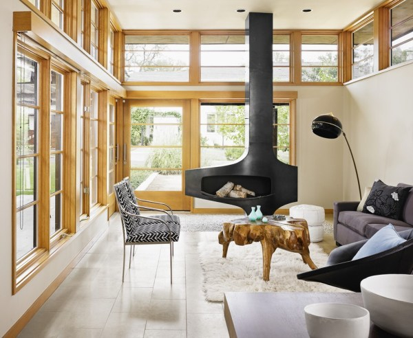 Portland Converting Wood Burning Fireplace Spaces Traditional With Floors Vessel Sinks Contemporary
