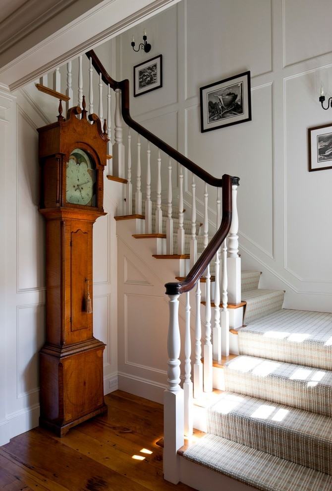 Boston Black Stair Runner Staircase Beach Style With Grandfather | Black And White Stair Runners | Staircase | Hallway | Cool | Diy | Jute